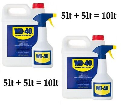 WD40 5lt + 5lt = 10lt Maintenance Oil Water Displacing Fluid with spray bottles