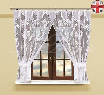 Modern net curtain ready to hang up WHITE or CREAM 160x300(cm)with curtain tape!