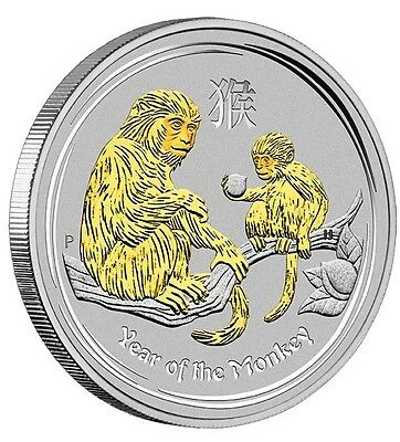 2016 Australia Lunar Year of the Monkey GILDED Edition 1oz SIlver $1 Coin w/ OGP