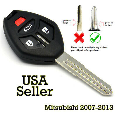 New 4 Button Remote Key Fob Case Uncut Blade For Mitsubishi 07-13 MN141545