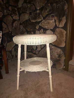Antique White Wicker Table With Shelf