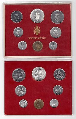 Vatican City - 8 Dif Unc Coins Complete Set:1 - 500 Lira Silver 1976 Year Folder
