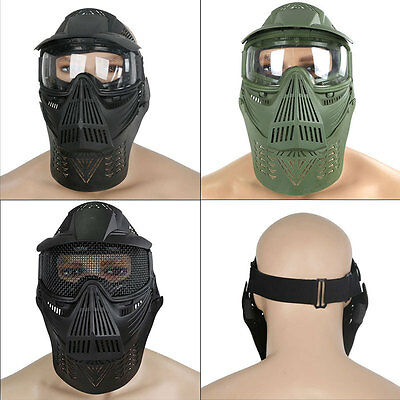 Face Guard Mask with Goggles Neck Protection For Paintball Airsoft Tactical Gear