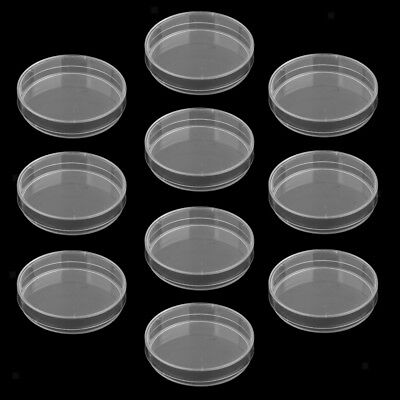 10Pcs Sterile Plastic Petri Dishes Lab Cell Tissue Culture Dish & Lid 65mm