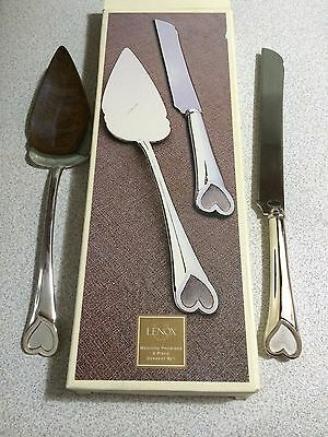 Lenox WEDDING PROMISES hearts silver plated 2 pc Dessert Set cake knife fork MIB