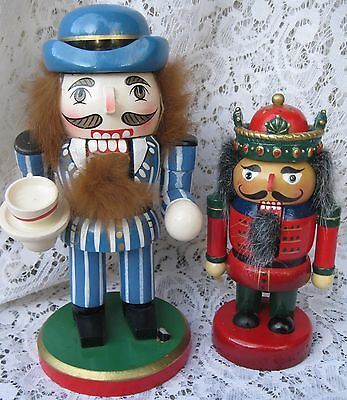 2 Vtg Nutcrackers one with Coffee Cup the Other a King Christmas Holiday
