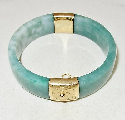 Vintage ? BIG Chinese 14K Yellow Gold Green JADEITE Jade Bangle Bracelet  (87g)