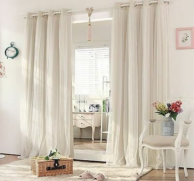 BLOCKOUT EYELET CURTAINS Double Layer Bridal Lace GIRLS Curtain Beige Cream