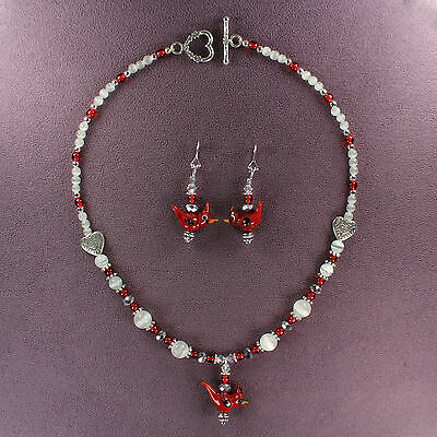 WINTER CARDINAL CHOKER NECKLACE EARRINGS SET Crested Bird Red Snow Silver Hearts