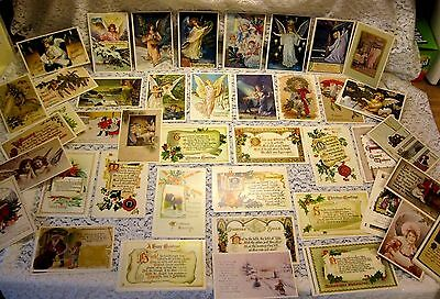 89 Reproduction Vtg Victorian Christmas Holiday Postcards Angels Nativity Santa