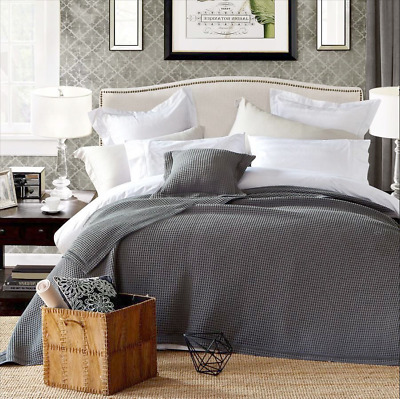 New Premium 100% Cotton Large Waffle Blanket Bedspread Bed Throw Rug Dark Grey