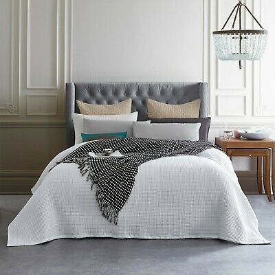 New Premium 100% Cotton 350gsm Waffle Blanket Bedspread Bed Throw Rug White