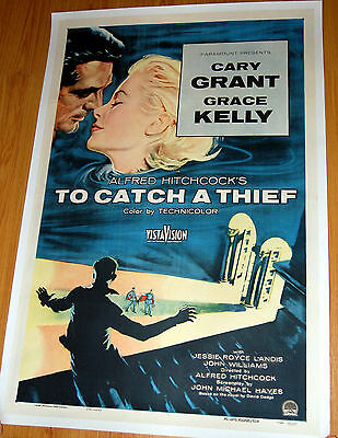 TO CATCH A THIEF linen 1sh 1955 Hitchcock ORIGINAL MOVIE POSTER
