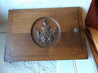 French Walnut wood cabinet door carving  antique - vintage gorgeous