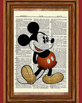 Classic Mickey Mouse Dictionary Art Print Quote Poster Picture Vintage Disney