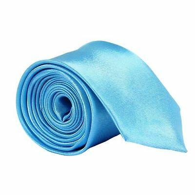30Pc Light Blue Satin Solid Plain Men Tie Wedding Party Business Skinny Casuall