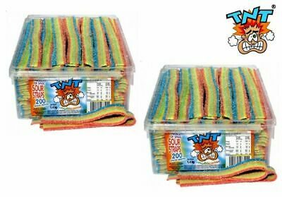 Bulk Lot 2.8kg x TNT Multicolour Sour Straps Box 400 Pieces Candy Buffet Favors