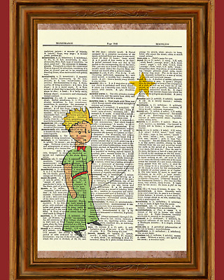 The Little Prince Dictionary Art Print Quote Poster Picture Le Petit Prince Book