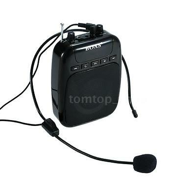 Portable Voice Amplifier Booster Mic Loud Speaker Waistband Megaphone Black FD26