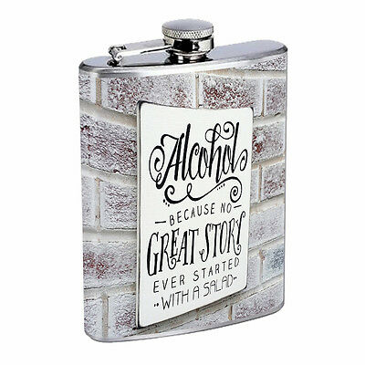 Funny Drinking Signs Hip Flask D10 8oz Stainless Steel Liquor Alcohol Whiskey