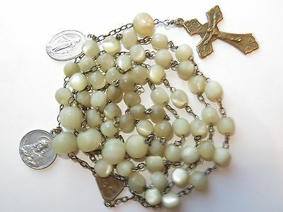 """1930s Long Large Antique Yellowish Mother of Pearl Beads Rosary in Brass-24"""""""