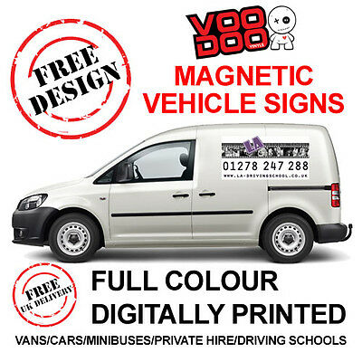 X2 Full colour printed magnetic signs- vehicle van car  - Free artwork included!