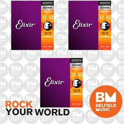 3 x Elixir 11052 Acoustic Guitar Strings Nanoweb Light 12-53 80/20 Bronze A-NW-L