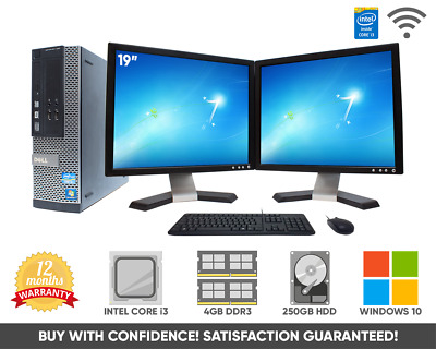"Dell 17"" Dual Screen Core i3 Desktop Computer PC 250GB 4GB RAM 