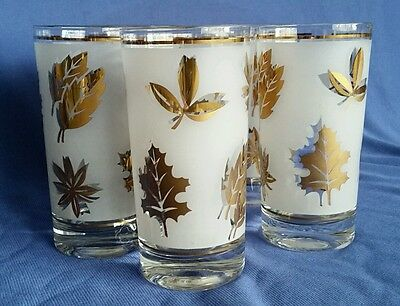 Libbey Hostess Glass Set Golden Foliage Frosted Cooler