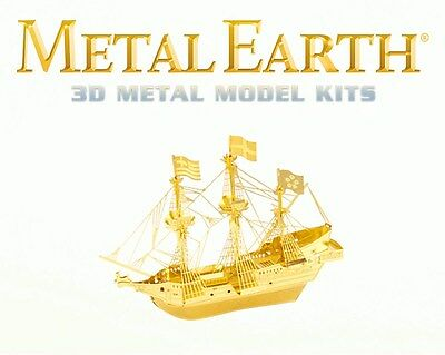 Fascinations Metal Earth Golden Hind Galleon Ship in GOLD Laser Cut 3D Model