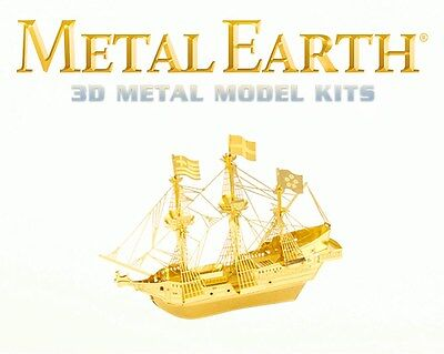 Fascinations Metal Earth Golden Hind Ship in GOLD Laser Cut 3D Model