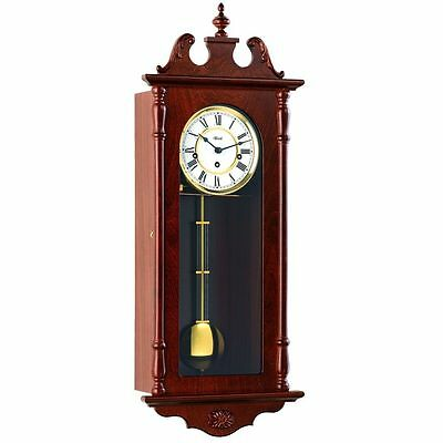 Hermle Wanstead Mechanical Regulator Wall Clock - Walnut - Westminster Chime