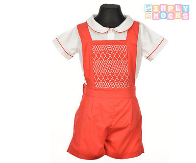 Hand Smocked Prince George Shirt/Shorts Set Traditional Romany Red Boy Outfit