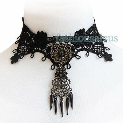 Fashion Handmade Vintage Vampire Fabric Lace Choker Beads Gothic Collar Necklace