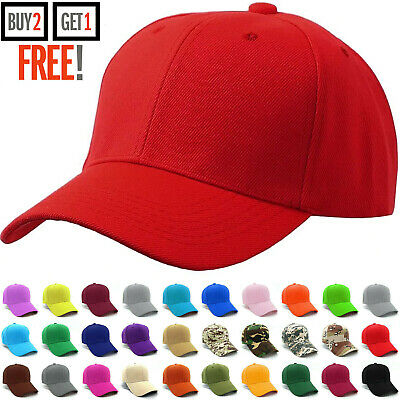 Plain Baseball Cap Blank Strapback Adjustable Solid Hat Polo Style One Size New