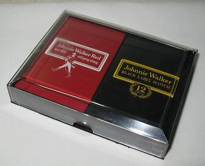 New Vintage Johnnie Walker Black and Red Label Playing Card Set Sealed With Case