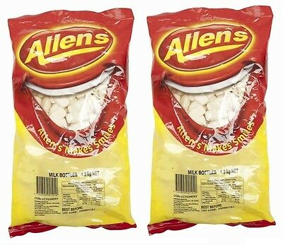 Bulk Lot 2.6kg  x Allens Milk Bottles Bag Lollies Buffet Bottle Party Sweets