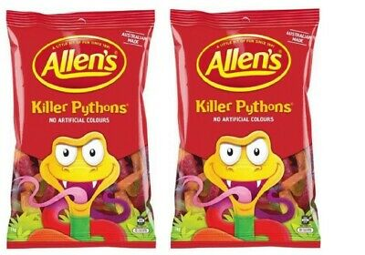 Bulk Lot 2kg  x Allens Killer Pythons Candy Buffet Lollies Jelly Snakes Favors