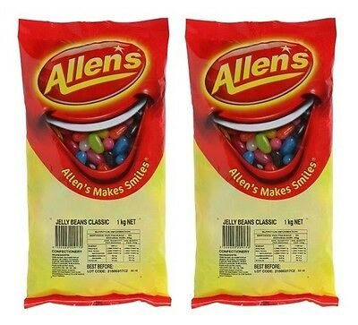 Bulk Lot 2 x Allens Jelly Beans 2kg Bag Candy Buffet Lollies Sweets Party Treats