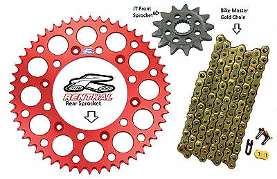 Renthal Red Sprocket and Gold Chain Kit Honda CR250r CR 250 CR250 88-08 14-50