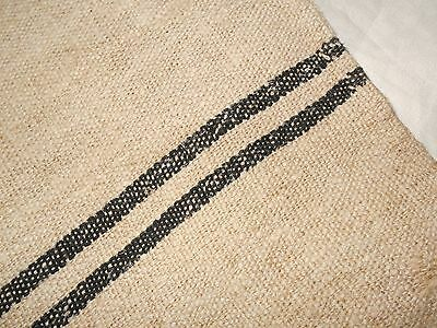 22X58 Vtg Antique BLACK STRIPE European HEMP LINEN Fabric FEED SACK GRAIN BAG