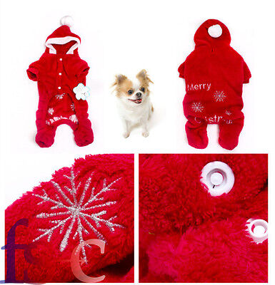 Hot Christmas Pet Puppy Cat Dog Santa Claus Costume Outfit Clothes Apparel