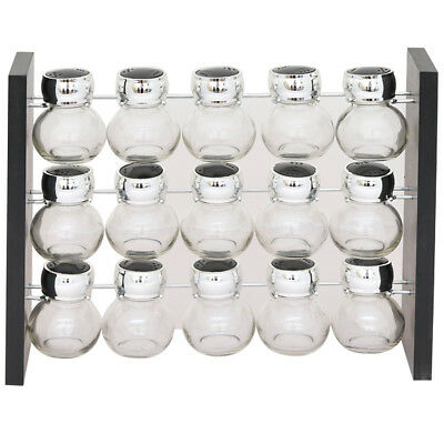 15Pcs Glass Spice Jar Set With Free Standing Rack Stand Kitchen Cooking Dining
