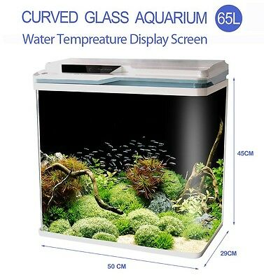 New 65L Aquarium Fish Tank Curved Glass Complete Set Filter Pump LED Light white