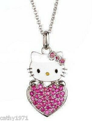 NEW Girls Hello Kitty Pink Crystal Heart Necklace & Pendant - Great Gift
