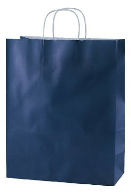 Blue Twisted Handle Kraft Paper Carrier Bags