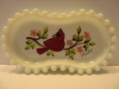 Vintage Handpainted Milk Glass Dish w/Cardinal, signed B. Newton