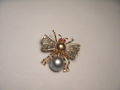 Gorgeous Antique 14K Pink Rose Gold Ruby Black Pearl Diamond Fly Bug Brooch Pin