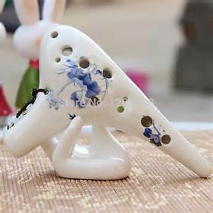 Ceramic/Clay Alto C 12 hole Ocarina White with Flower Design