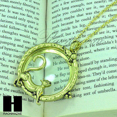 """Gold & Silver 5X Magnifying Glass Playing Kitty Cat Pendant 31"""" Necklace 20M"""